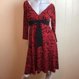 3/$27 London Times V Neck Fit & Flare Dress